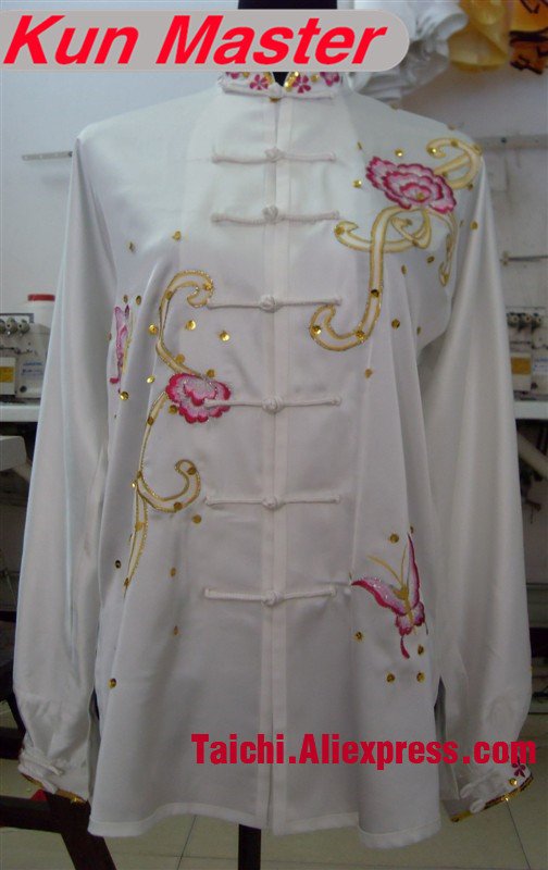 Custom Tai Chi Performance Uniform Peony Embroidery  Martial Art Clothing For Kung Fu White Color Top And Pants