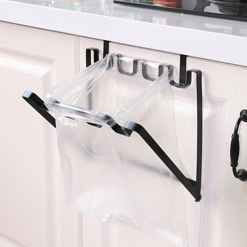 Cabinet Door Garbage Bag Foldable Sturdy Iron Over Organizer Rack Kitchen Pockets Hooks Plastic Trash Cans Storage Rack Holder