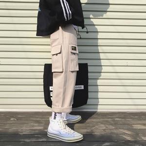 Image 5 - 2019 男性のファッション綿ゆるいカジュアルな貨物ポケットパンツストリート黒/カーキ色ズボンジョガースウェットパンツサイズ M 2XL