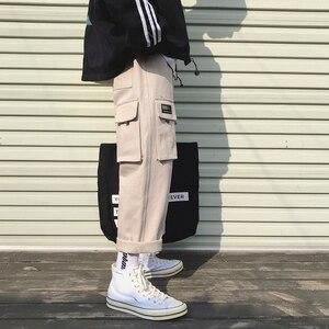 Image 5 - 2019 männer der Mode Baumwolle Lose Beiläufige Cargo Tasche Hosen Streetwear Schwarz/khaki Farbe Hose Jogger Jogginghose Größe M 2XL