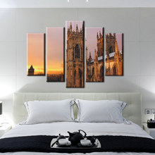 5 Panel Building Oil Painting Reproduction From China Abstract Wall Art for Home Decoration Print on Canvas Free Shipment