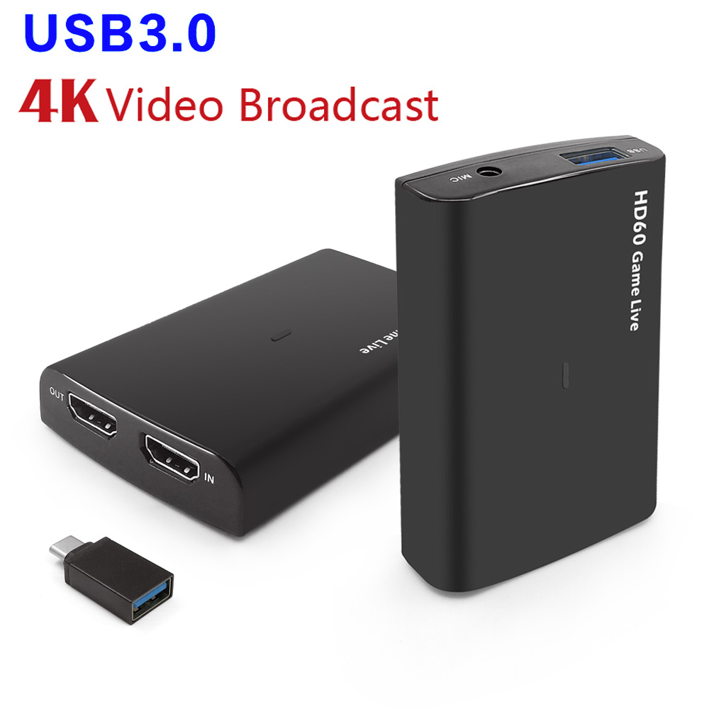 HDMI Video Capture Card USB3.0 Mic  Game Recorder for PS3/4 Xbox TV BOX Twitch OBS Youtube Live Streaming Support 4K  1080P 60fpHDMI Video Capture Card USB3.0 Mic  Game Recorder for PS3/4 Xbox TV BOX Twitch OBS Youtube Live Streaming Support 4K  1080P 60fp