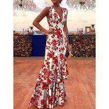 2019 New Fashion Deep V-Neck Ruffles Floral Print Dress Women Sleeveless Summer Straps Empire Maxi Dress Sexy Slim Party Dress цена в Москве и Питере