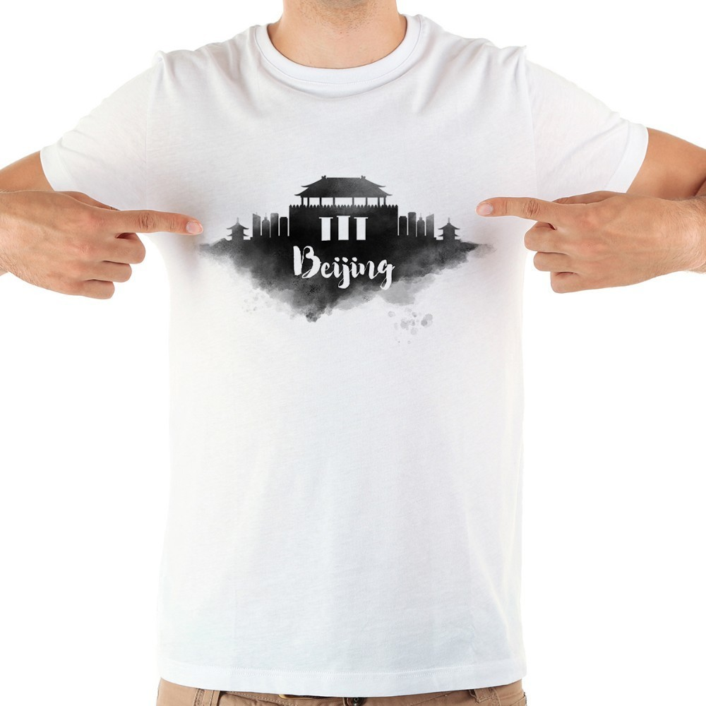 China beijing <font><b>hong</b></font> <font><b>kong</b></font> Taipei watercolor landmarks funny t shirt men 2018 summer new white casual homme cool <font><b>tshirt</b></font> image