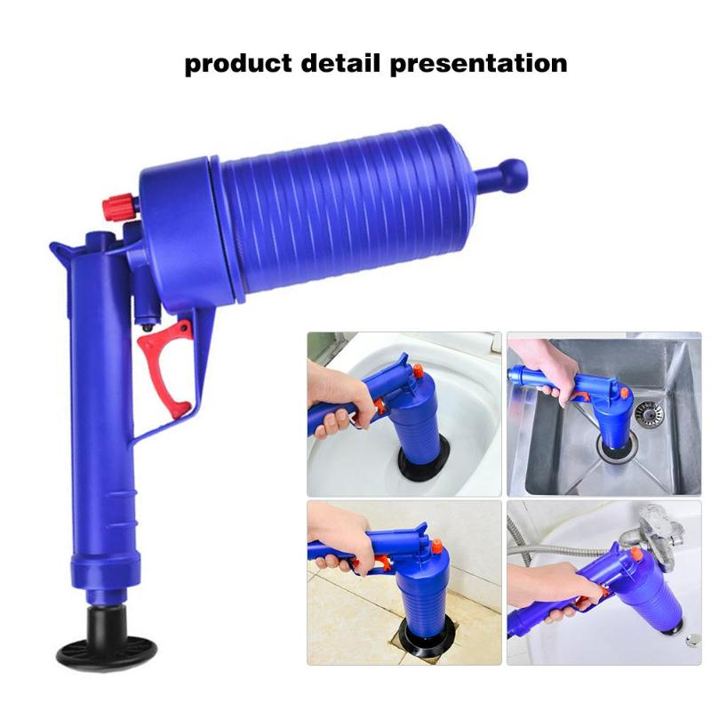 Plunger Opener Toilet Cleaner Kit High Pressure Air Drain Pump Rubber Sucker SET