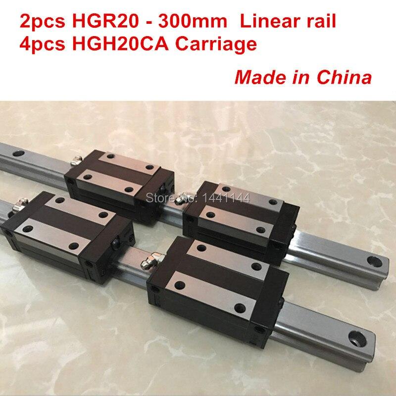 HGR20 linear guide: 2pcs HGR20 - 300mm + 4pcs HGH20CA linear block carriage CNC partsHGR20 linear guide: 2pcs HGR20 - 300mm + 4pcs HGH20CA linear block carriage CNC parts
