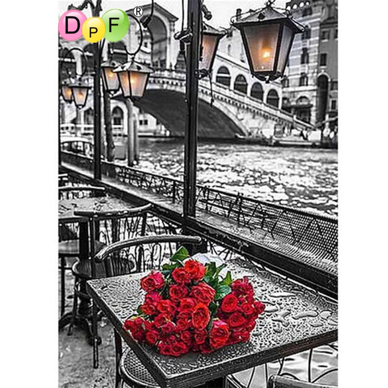 DPF Diamond vyšívání Malování 3d diamantová mozaika Diamond Malování Cross Stitch květina červená růže vzor záliby a řemesla dárek