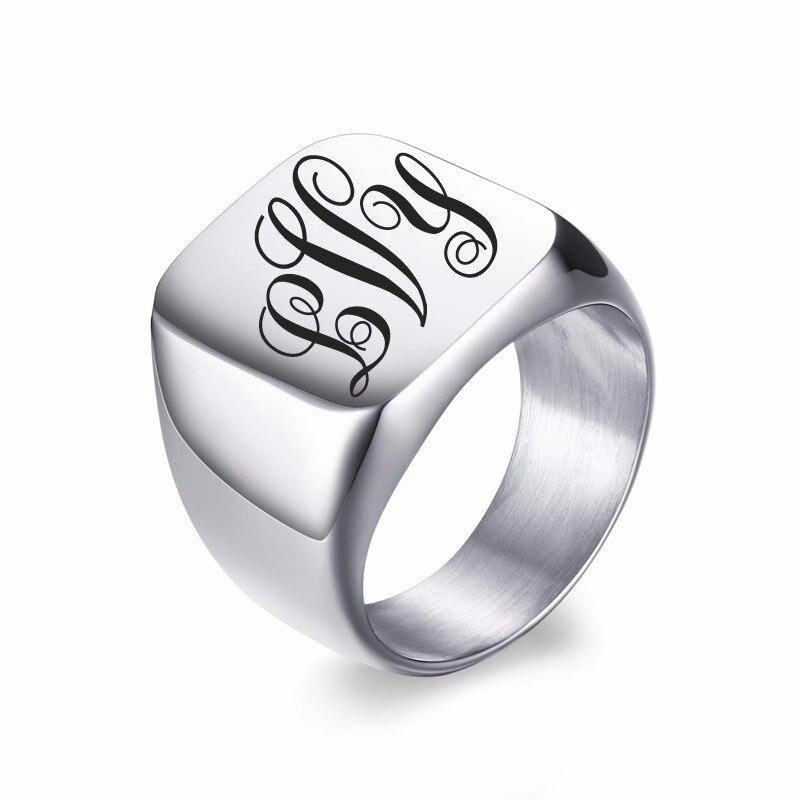 Custom Engraved Stainless Steel Monogram Ring