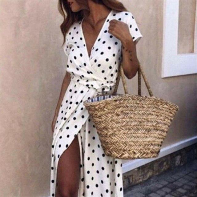 נשים חדש קיץ בציר פולקה נקודות מקסי שמלת נקבה קצר שרוול תחרה עד תחבושת V צוואר שמלות ליידי חג Clubwear vestidos
