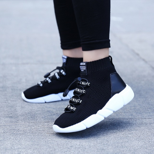 0865696394898 Boy s Sneakers Knit Upper Breathable Sport Shoes Chunky Shoes High Top Running  Shoes For Boys Gilrs