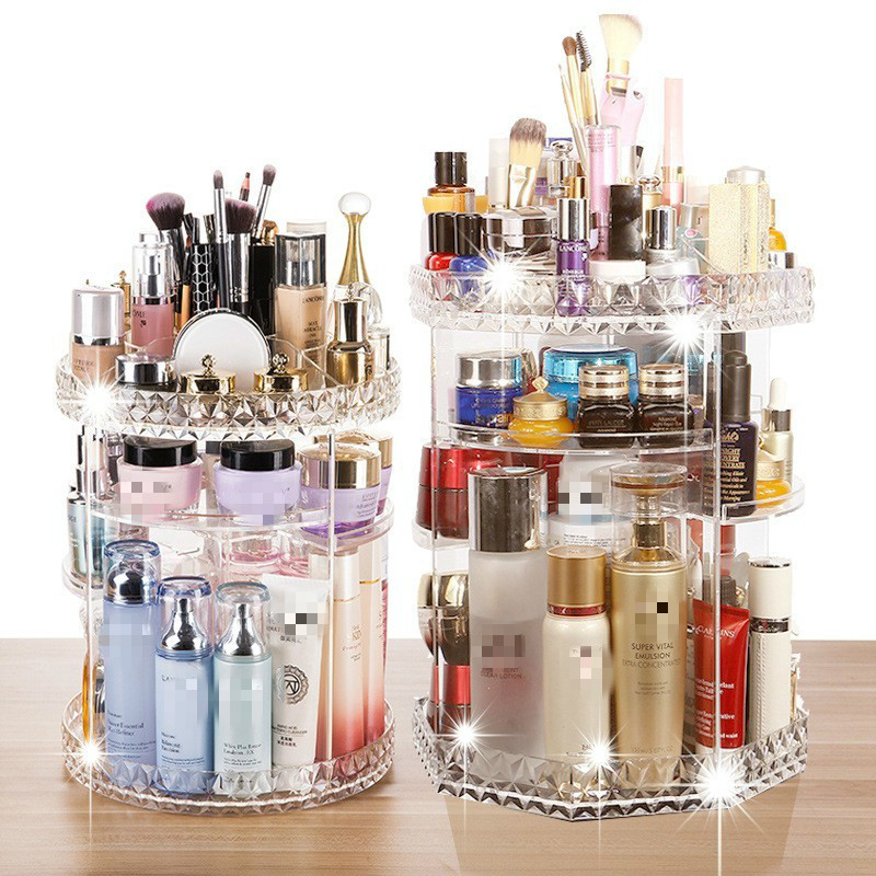 360 Rotating Acrylic Cosmetic Makeup Organizer DIY Detachable Rangement Maquillage Adjustable Makeup Storage Holder Rack