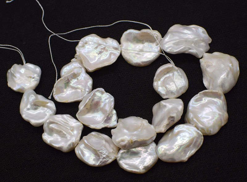 loose beads freshwater pearl white reborn keshi falt baroque nature 15 25 30mm for making jewelry necklace FPPJ wholesale