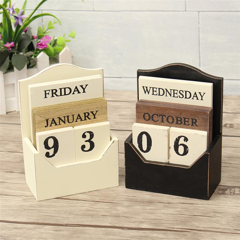 Wood Desk Calendar Retro Vintage Block Perpetual Wooden Environmental Office Home Decor Diy-White