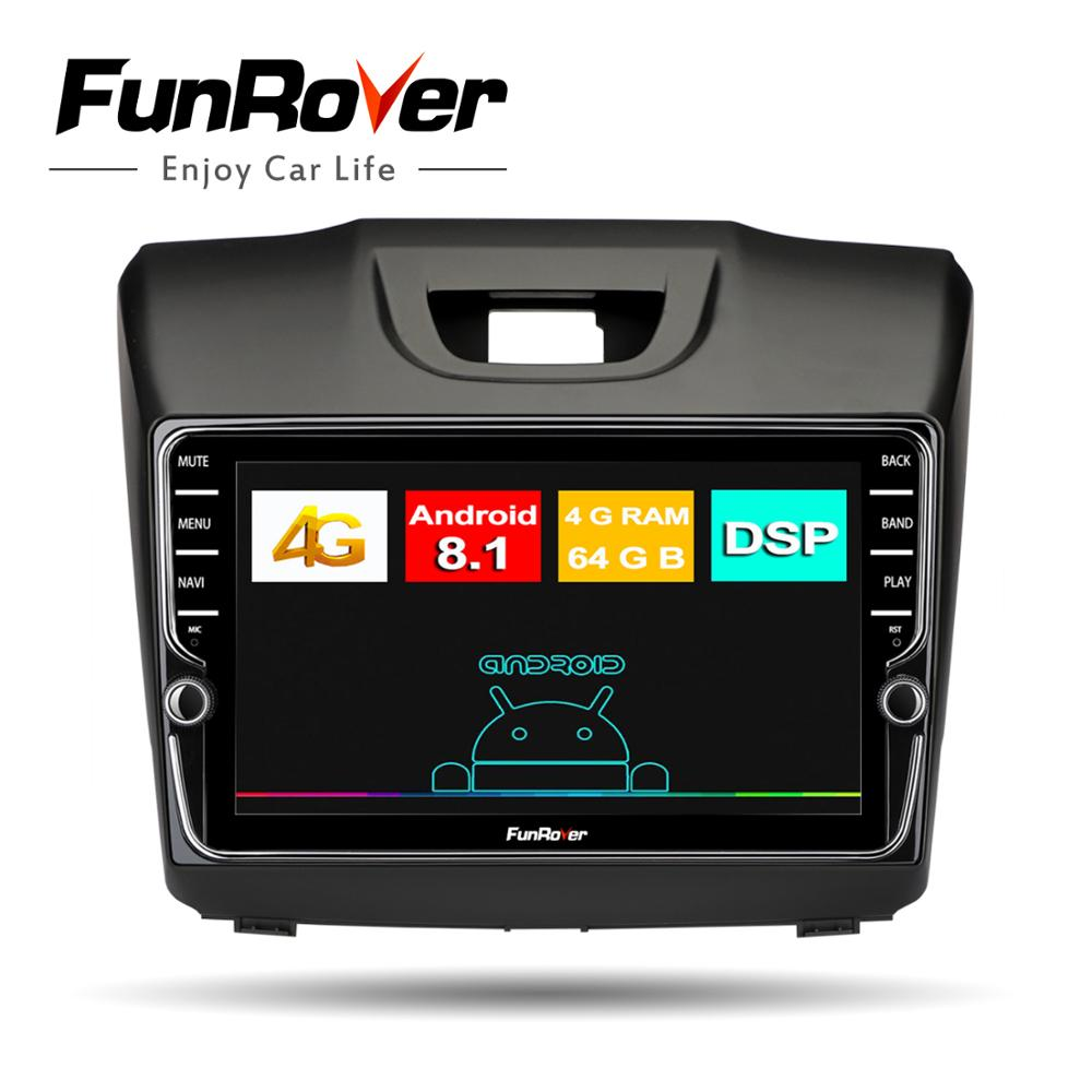 Autoradio Funrover 8 core 2 din multimédia android8.1 pour Chevrolet Trailblazer Colorado S10 Isuzu d-max MU-X lecteur dvd gps de voiture