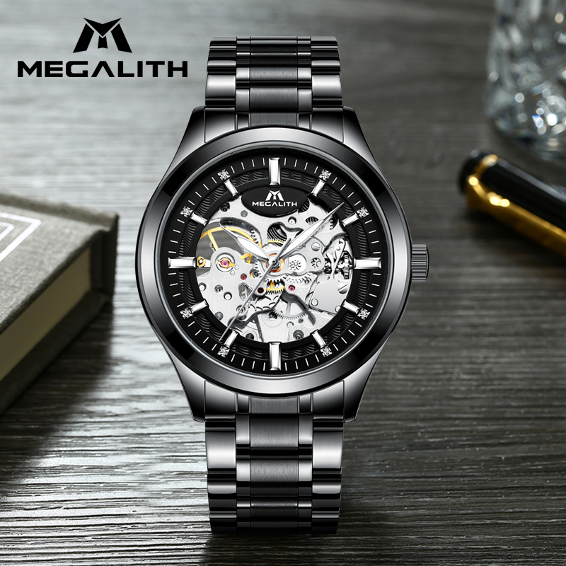 MEGALITH Mens Fashion Watches Top Brand Luxury Silver Steel Mechanical Automatic Watches Waterproof Watches For Man Montre Homme|Mechanical Watches|   - title=