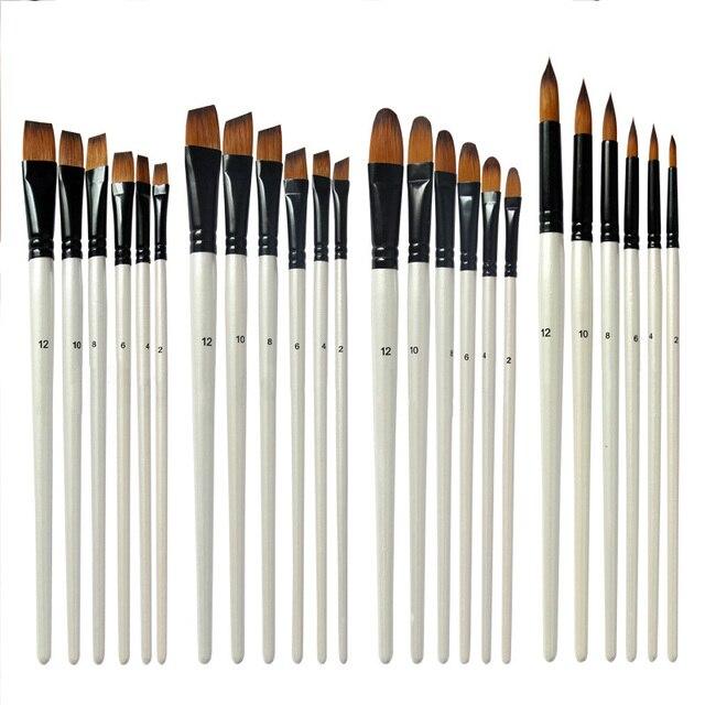 Pinceles de lápiz de artista respetuoso con el medio ambiente perla blanca acuarela pluma de acrílico pintura de acuarela de Nylon modelo de pelo pintura 6 piezas