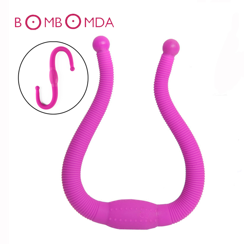 Silicone Bendable Double font b Dildo b font Anal Vibrators for Women Soft Curved Rechargeable Dual
