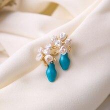 Vanssey Fashion Vintage Jewelry Flower Flowerpot Van Gogh Natural Irregular Pearl Stud Earrings Accessories for Women 2019 New