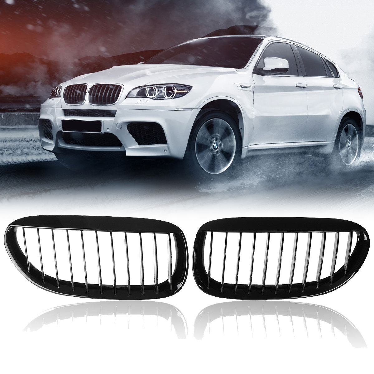 High quality Pair Gloss Black Front Grilles Right and Left for BMW E63/E64 M6 650Ci 645Ci 2005 2010