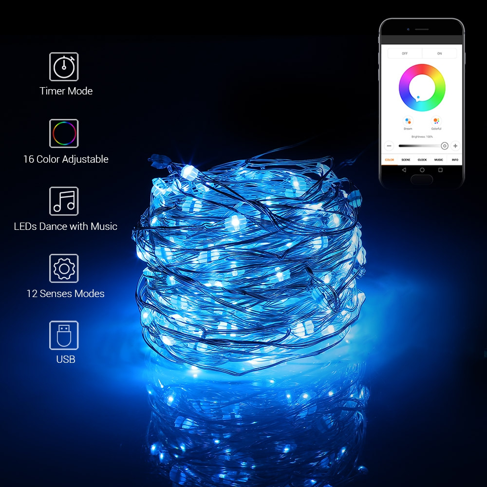 Holiday Lighting Logical 5m/10m Usb Rgb 50/100 Leds App Control Fairy Copper String Light For Parties Holidays Outdoor And Indoor Decoration