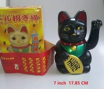 1Pcs 17.85m Big Black Classic Lucky Wealth Electric Wink Cat Waving Cat Beckoning Maneki Feng Shui Crafts Home Decor Gifts
