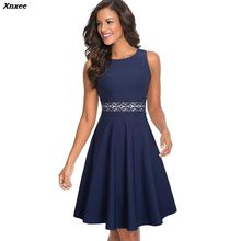 Xnxee Women Vintage Sleeveless Swing A-line Party Dress Elegant Fit And Flare Tunic Lady Sundress Vestidos