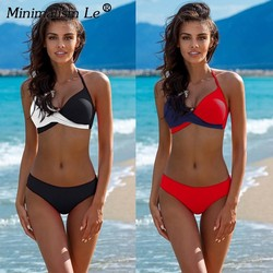 Minimalism Le 2019 Lace Patchwork Bikinis Sexy Plus Size Push Up Swimwear Women Bathing Suit Solid Bikini Set Swimsuit Biquini