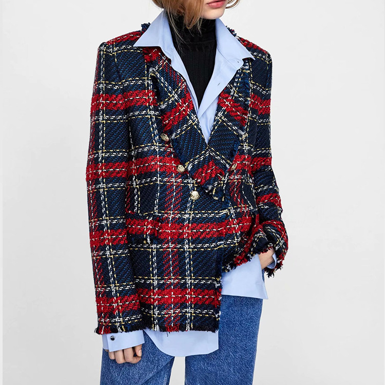 Autumn Winter Women Tweed Tassel Temperament Women Clothes 2019 Fashion Suit Jacket Women Coat Plaid Suit Notched Button Jackets