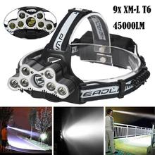 Hard Light Flashlight 45000 LM 9 T6 Head Lamp Waterproof LED Rechargeable Headlight Outdoor Travel Head Torch use 18650 battery