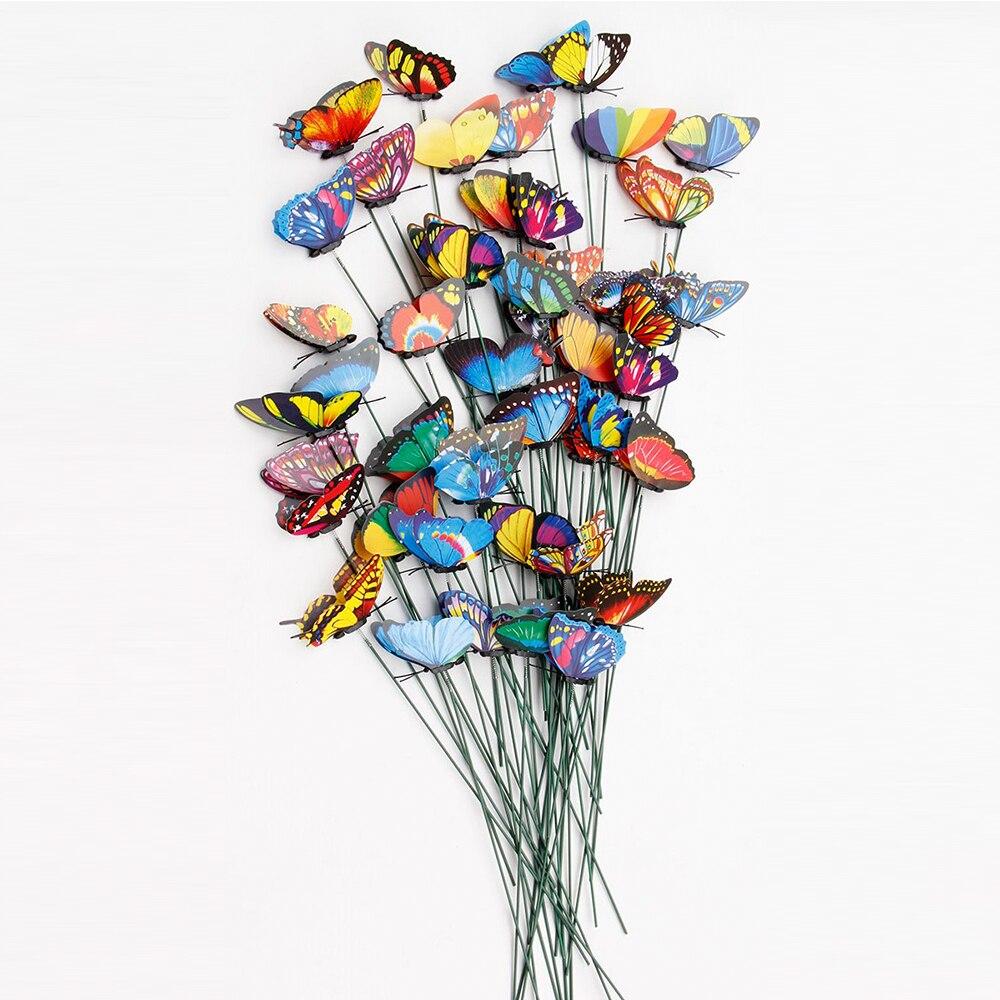 20pcs/pack 3D Colorful Butterfly Decorative On Sticks Home Yard Lawn Flowerpot Plant Decoration Garden Ornament DIY Lawn Craft organizador de gaveta de talheres