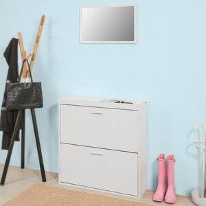 SoBuy FSR61-W, Hallway Furniture Set, Shoe Cabinet Shoe Rack Storage Cupboard with Wall Mirror