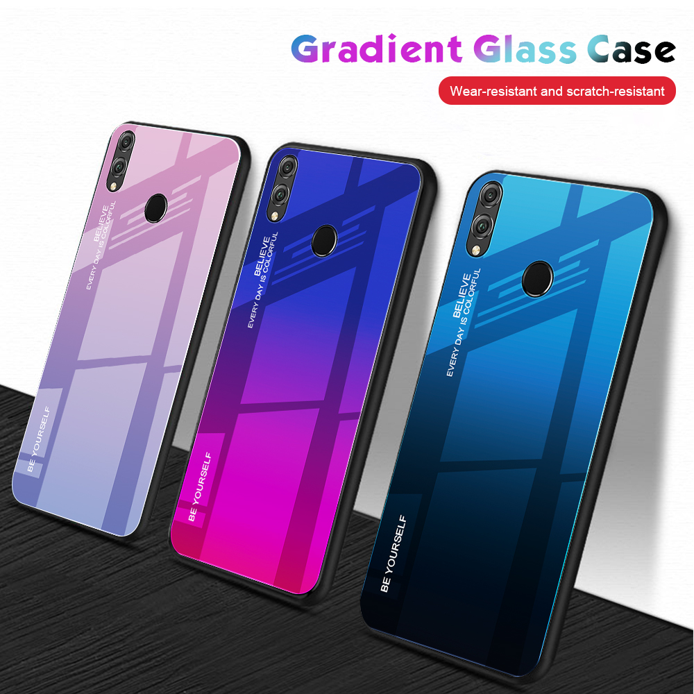 Gradient Phone Case For Huawei Y6 Prime 2019 P30 P20 Lite Pro Micolorful Shell Glass Cover Case For Honor 10i 20i 8A 8X Max 8X