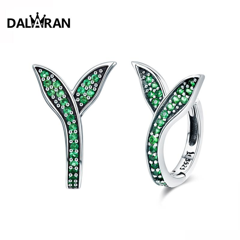 DALARAN Stud-Earrings Allergy-Mature Jewelry 925-Sterling-Silver Cute Green-Grass Wind-Light