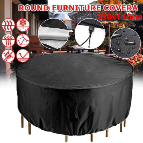 Tahan Air Outdoor Taman Patio Furniture Meja Anyaman Rotan Hujan Round Cover
