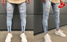 Ripped Zipper Jeans Men Slim Fit Mens Knee Holes Distressed Denim Joggers Skinny Pants Male 2018 Autumn Fashion Jeans O8R2