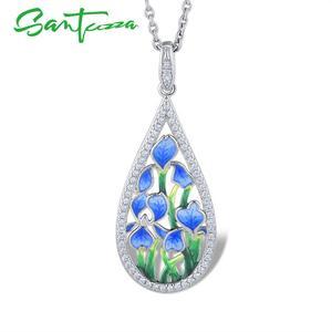 Image 3 - SANTUZZA الفضة زهرة قلادة للنساء 925 فضة اليدوية المينا الأزرق البتلة قلادة صالح لل قلادة الأزياء والمجوهرات