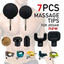Yeni 7 pcs Değiştirilebilir Perküsyon derin Masaj tabancası İpuçları Için Jigsaw Masaj Bit İpucu Set Vücut Kas Masaj