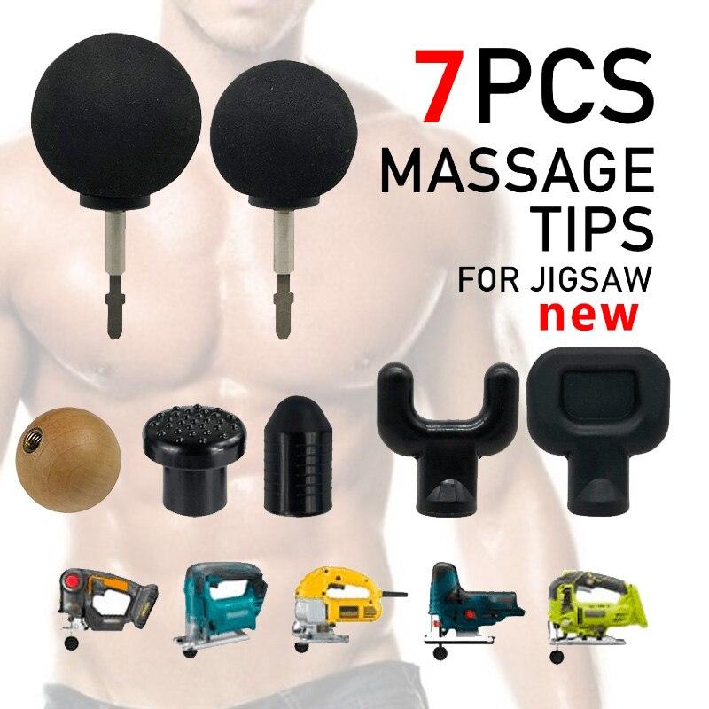 new 7pcs Replaceable Percussion deep Massage gun Tips For Jigsaw Massager Bit Tip Set Body Muscle Massager