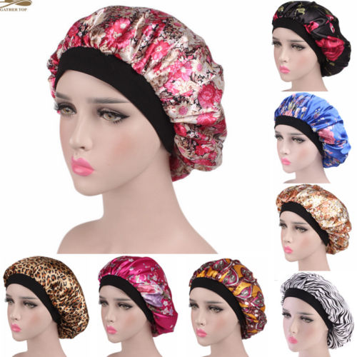 2019 New Fashion US Women Satin Night Sleep Cap Hair Bonnet Hat Silk Head Cover Wide Elastic Band