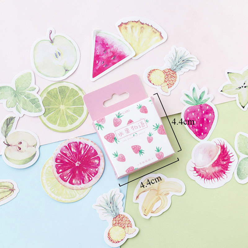 46pcs Fruits Stickers Strawberry Pineapple Decorative Adhesive Stickers Decorations Scrapbooking Diy Albums Papeterie Pegatinas