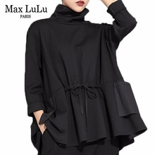 Max LuLu bahar lüks avrupa moda Vintage bayanlar siyah tişört balıkçı yaka üstleri pamuk rahat bayan uzun kollu Tee gömlek