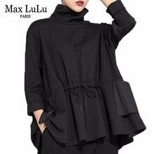 Max LuLu Весенняя Роскошная Европейская мода винтажная Женская Черная Футболка Водолазка Топы хлопковые повседневные женские футболки с длинным рукавом