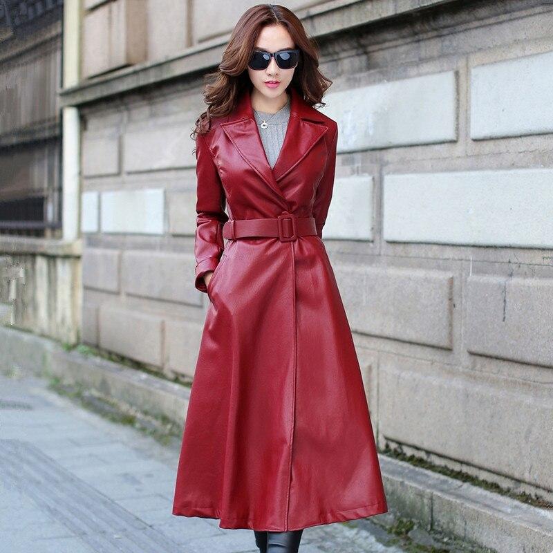 Women Long Windbreaker Wine Red Black Pu   Leather   Jacket Female Elegant Vintage Spring Autumn New Arrival Fashion Coat Streetwear