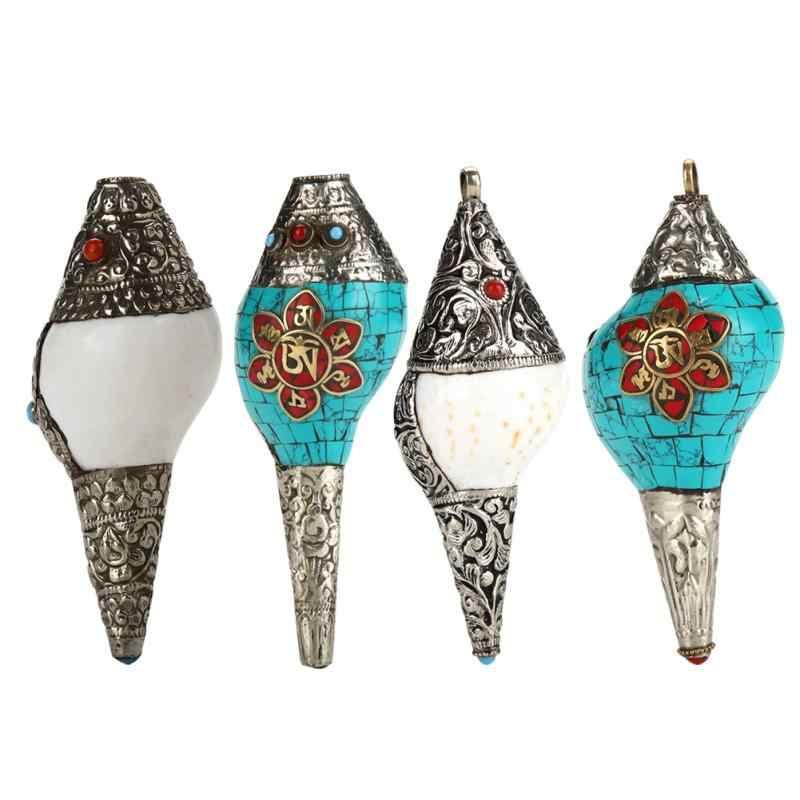 Zerodis Conch Hanger Zee Slak Decor met Tibetaans Zilveren Schelp Hanger Handgemaakte Schelp Hanger Decor
