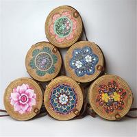 Women Fashion Handmade Rattan Shoulder Bag For Summer Bohemian Ethnic Style Beach Crossbody Bags Vintage Flower Straw Handbag