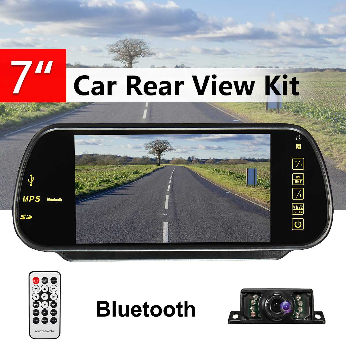 7 Inch TFT LCD Screen bluetooth Car MP5 Player FM Transmitter Auto Reversing Backup Mirror Monitor Car Rear View Camera7 Inch TFT LCD Screen bluetooth Car MP5 Player FM Transmitter Auto Reversing Backup Mirror Monitor Car Rear View Camera