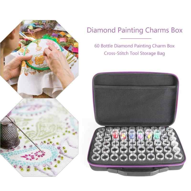 Hot-60 Slots Diamond Embroidery Box Diamond Painting Case Clear Plastic Beads Display Storage Cross-Stitch Tool Storage Case Bag