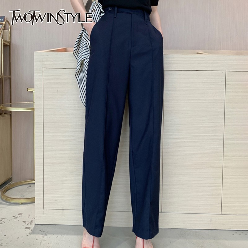 TWOTWINSTYLE Spring Casual High Waist Women Pants Solid Large Size Straight Full Length Trousers Female 2019 Fashion Clothing