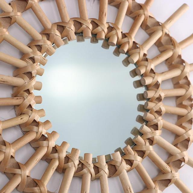 Rotin Art innovant décoration ronde maquillage miroir Dressing salle de bain tenture murale miroir