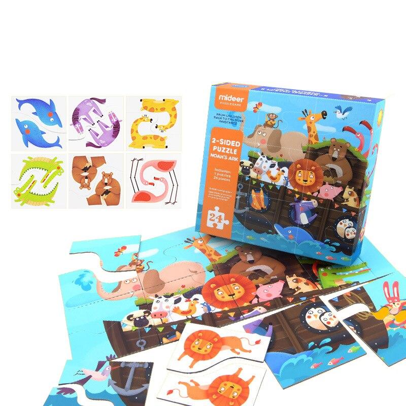 24 paire animaux papier Puzzle Puzzle 2 faces Puzzle début jouets éducatifs coloré arche de noé Puzzle pour les enfants